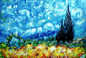 Vincent van Gogh - Wheat Field with Cypresses by Keltu