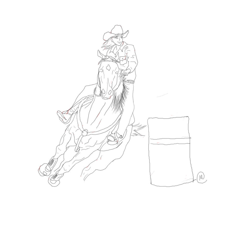 Barrel racer lineart by drpepperqueen92 on deviantart for Coloring pages of horses barrel racing