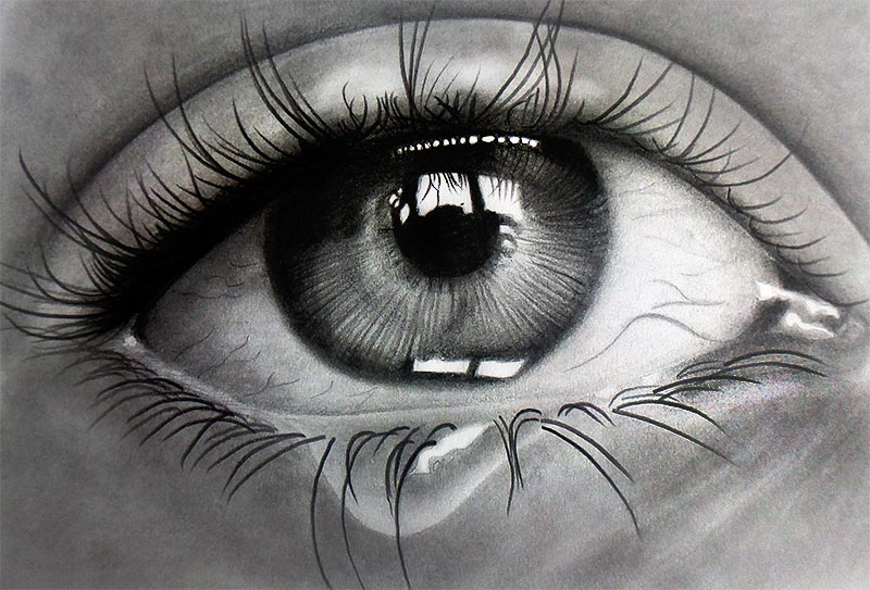 Pencil Drawn Crying Eyes Crying Eye Pencils on Paper
