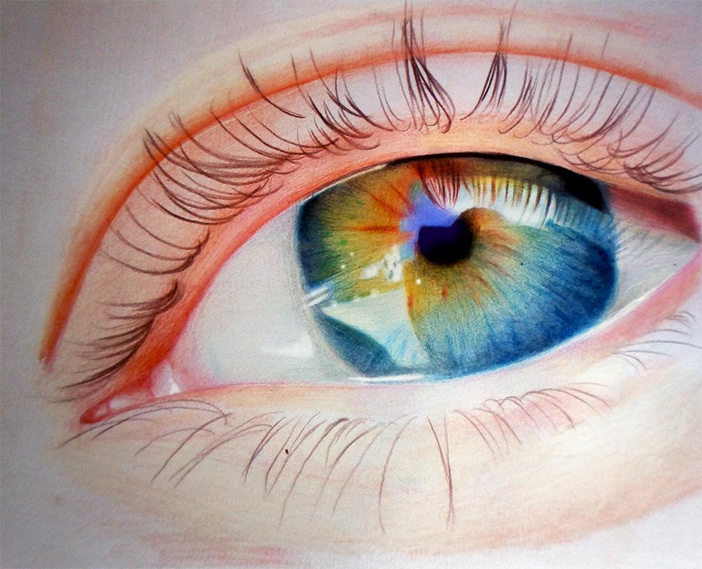 نقاشی ساده با مداد شمعی Eye - Colored pencils by f-a-d-i-l on DeviantArt