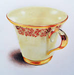 Gold rimmed cup - Colored pencils