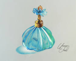 A perfume bottle - Colored Pencils by f-a-d-i-l