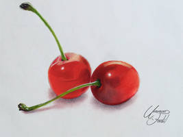 Drawing Fruits 1 - Cherries - Colored pencils by f-a-d-i-l