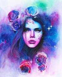Galaxy goddess -watercolor and prismacolor pencils