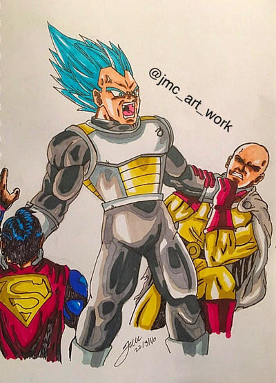 Vegeta Ssgss Blue Vs One Punch Man And Superman By Jmcartwork