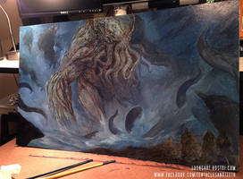 Cthulhu Painting by TentaclesandTeeth