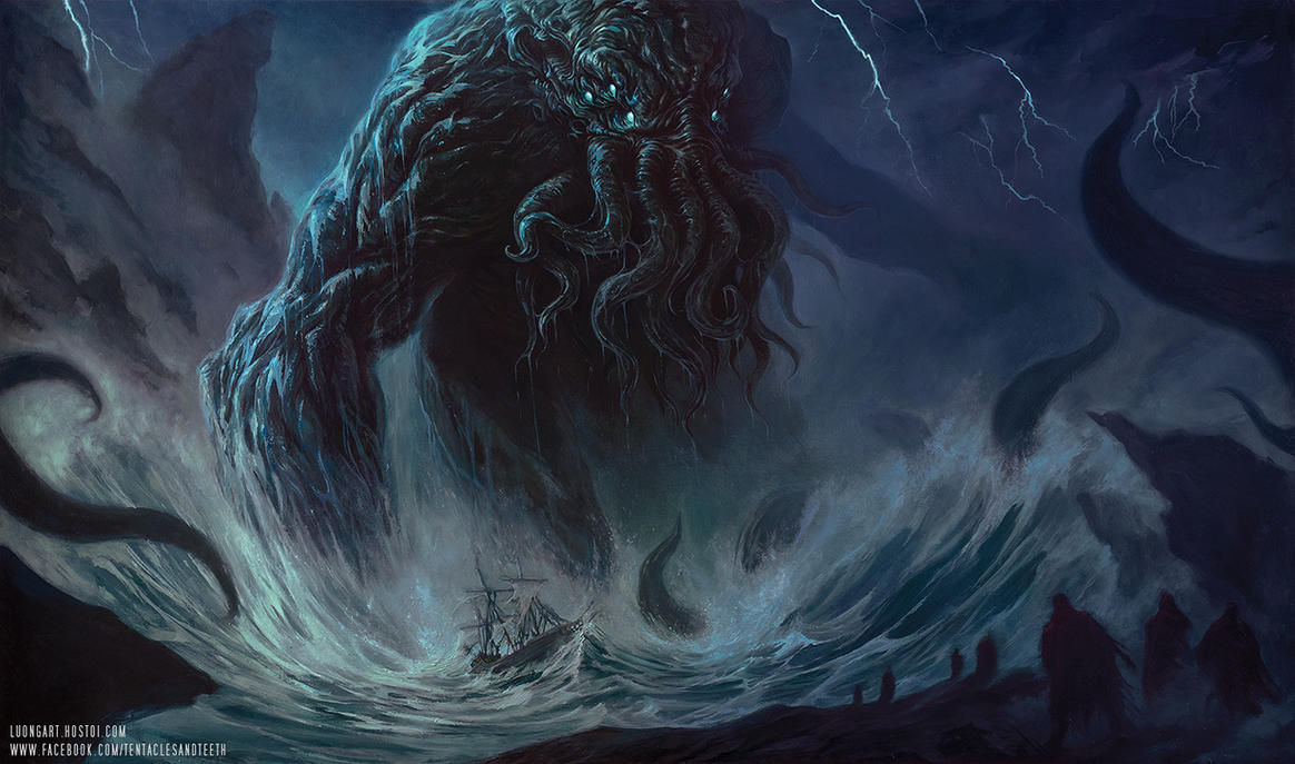 cthulhu oil painting by tentaclesandteeth on deviantart