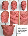 Decapitated zombie head sculpture