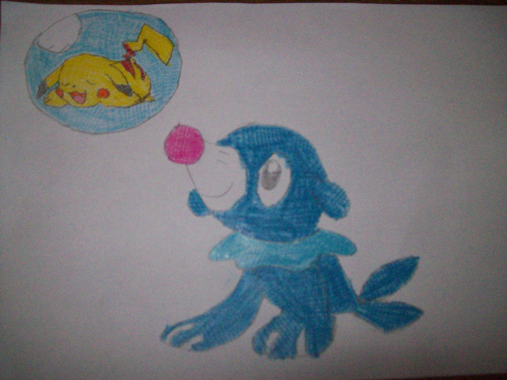popplio and a sleeping pikachu in a water balloon by pokedrogon