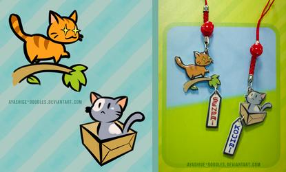 Senpai/ Kouhai Kitty Charms by ayashige-doodles