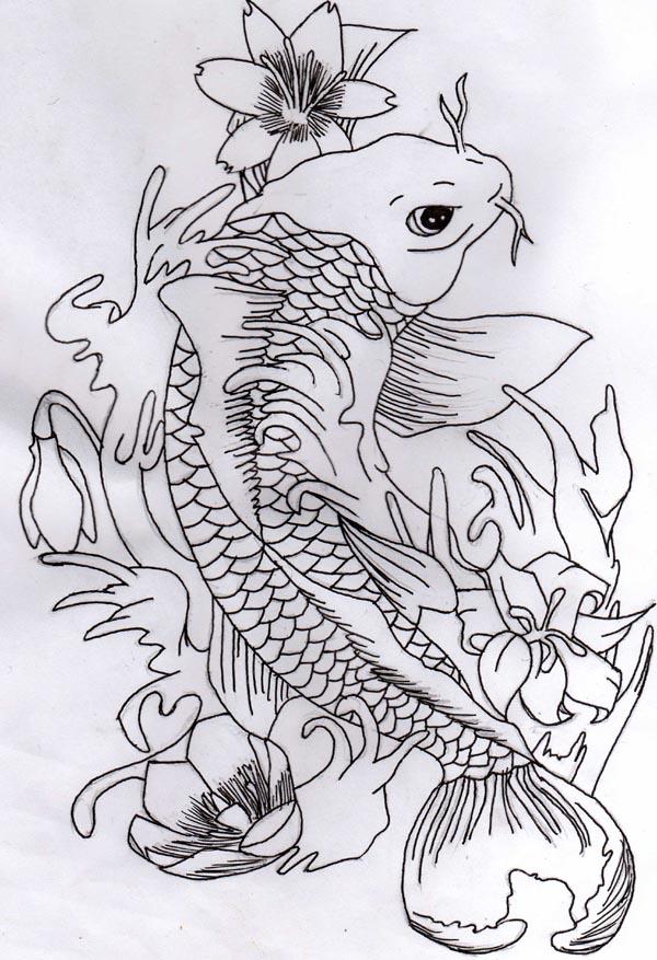 My koi carp tattoo design by darkapril on deviantart - Dessin carpe koi ...