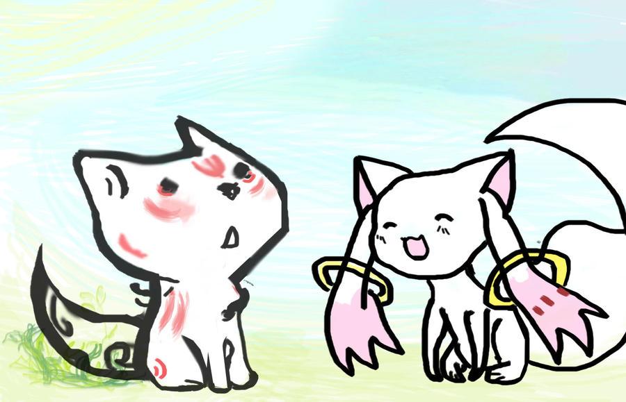 Amaterasu and Kyubey by vegeta2711