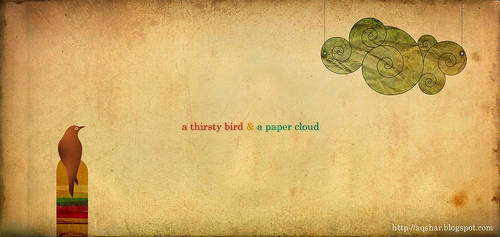 thirsty bird and paper cloud by Bheeshoom