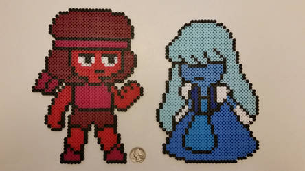 Ruby and Sapphire Perlers by jrfromdallas
