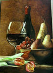 Wine bottle and fruits
