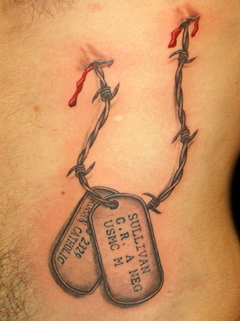 Cross With Dog Tags Tattoo | Car Interior Design