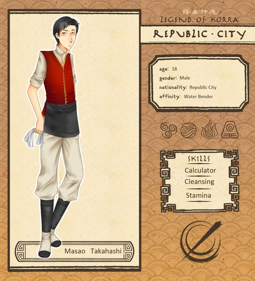 Republic City App: Masao Takahashi by Watermage244