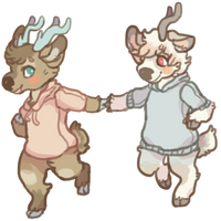 deers in sweaters by wumbreon