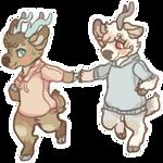 deers in sweaters