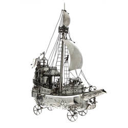 Auction 25 - Lot 172 - Silver Model of a Galleon