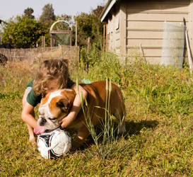 Dean and Brutus fighting for the ball