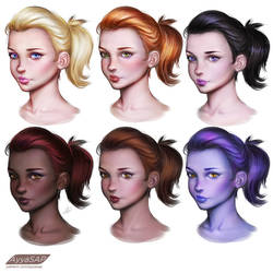 Skin tones variations study (from BW)