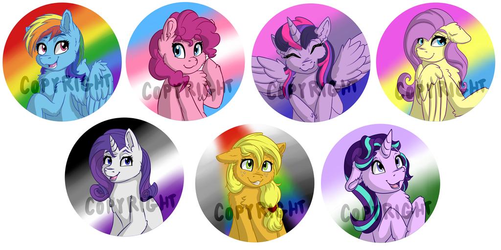 Pride Ponies! button set by VictoryDanceOfficial