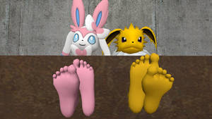 Jolteon and Sylveon feet 1 (request)