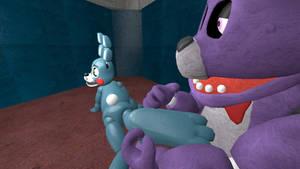 FNaF 1 Bonnie tickles Toy Bonnie 3 (request)