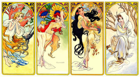 Disney and Mucha - 4 Seasons by Larocka84