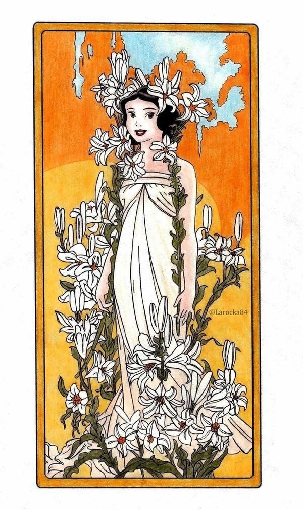 Snow White - Mucha's Flowers: Lily by Larocka84