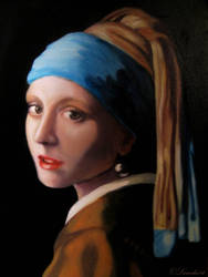 Girl with a Pearl Earring - Oil on canvas