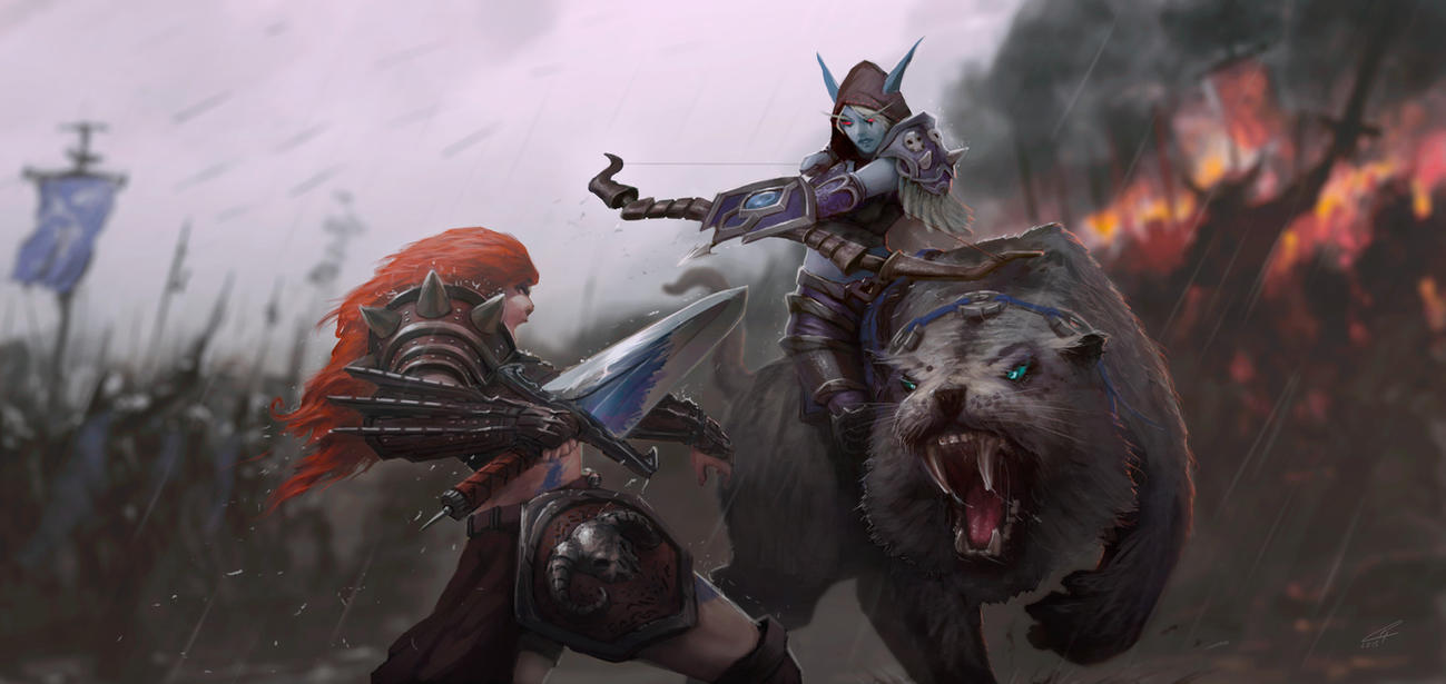 Heroes of The Storm  - Sonya vs Sylvanas by dr-grizscald