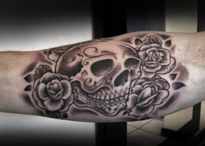 Sugar Skull and Rose Tattoo by t-o-n-e