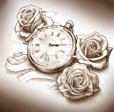 Timepiece and Roses Tattoo design by t-o-n-e