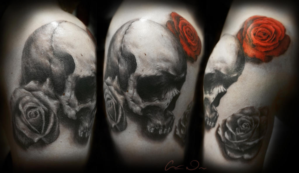 more Skull and Roses Tattoo by t-o-n-e