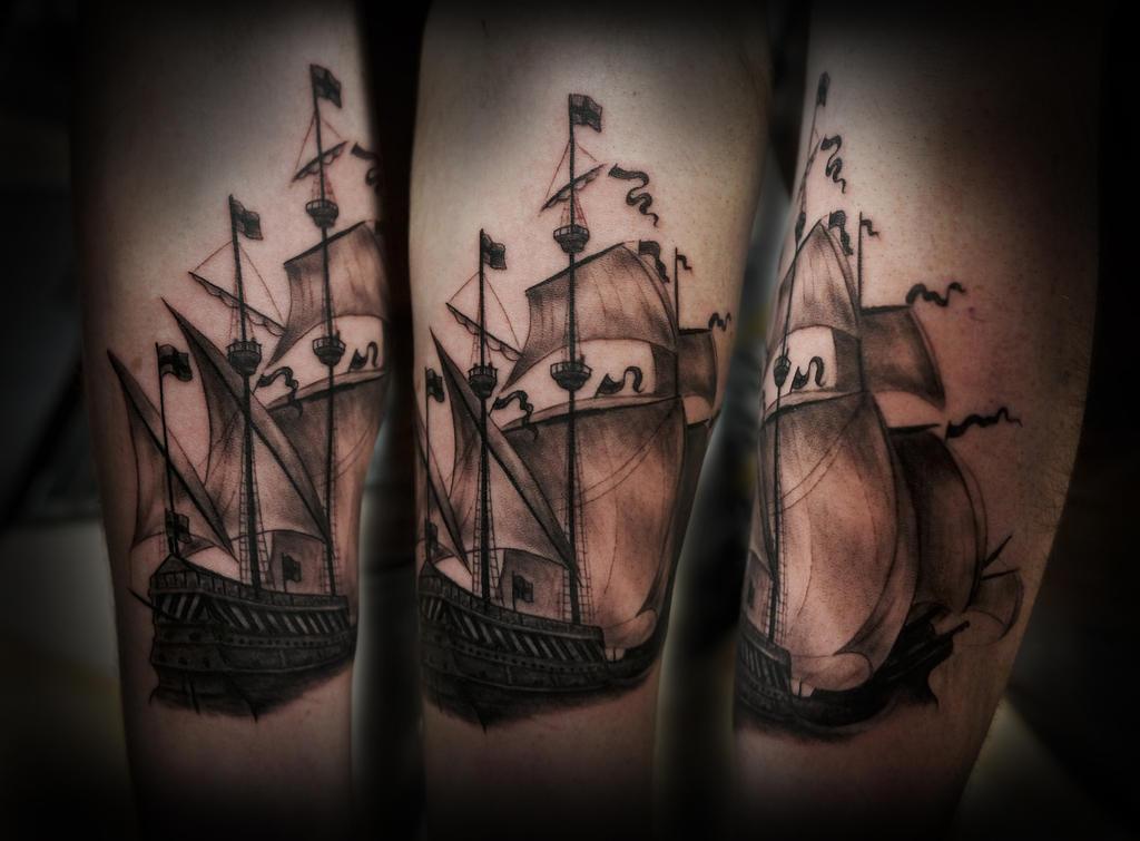galleon tattoo part i by t o n e on deviantart. Black Bedroom Furniture Sets. Home Design Ideas