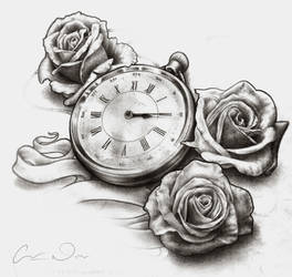 Timepiece and Roses - Desaturated
