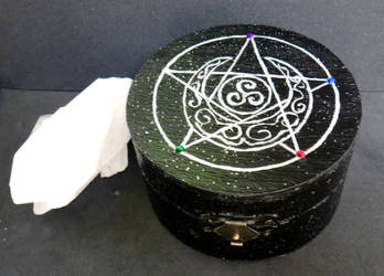 Pentagram and Moon Jewelry Charging Altar Box