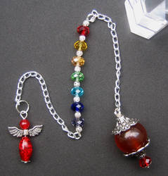 Red Agate Angel 7 Chakras Pendulum