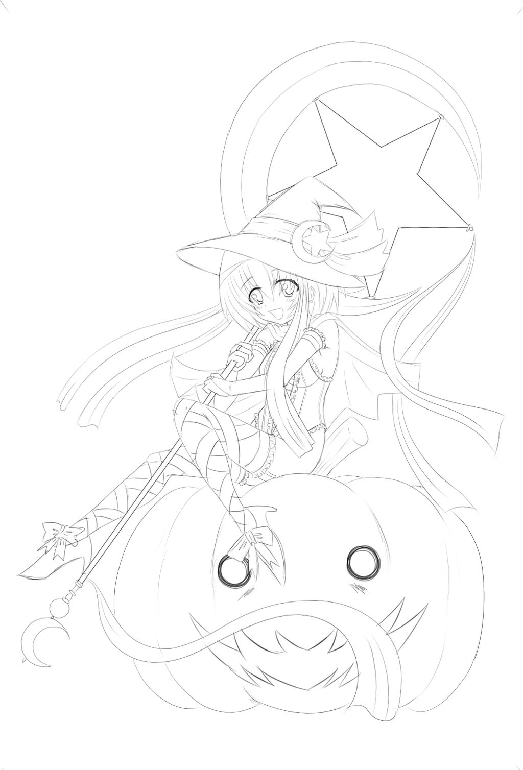 Anime loli witch for halloween 2013 sketch by