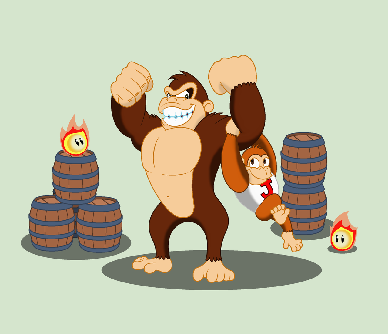 Cranky Kong and Donkey Kong Jr. by BBBHuey on DeviantArt