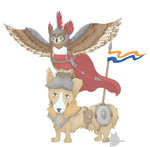 Birthday Art - The Owl and Corgi duo
