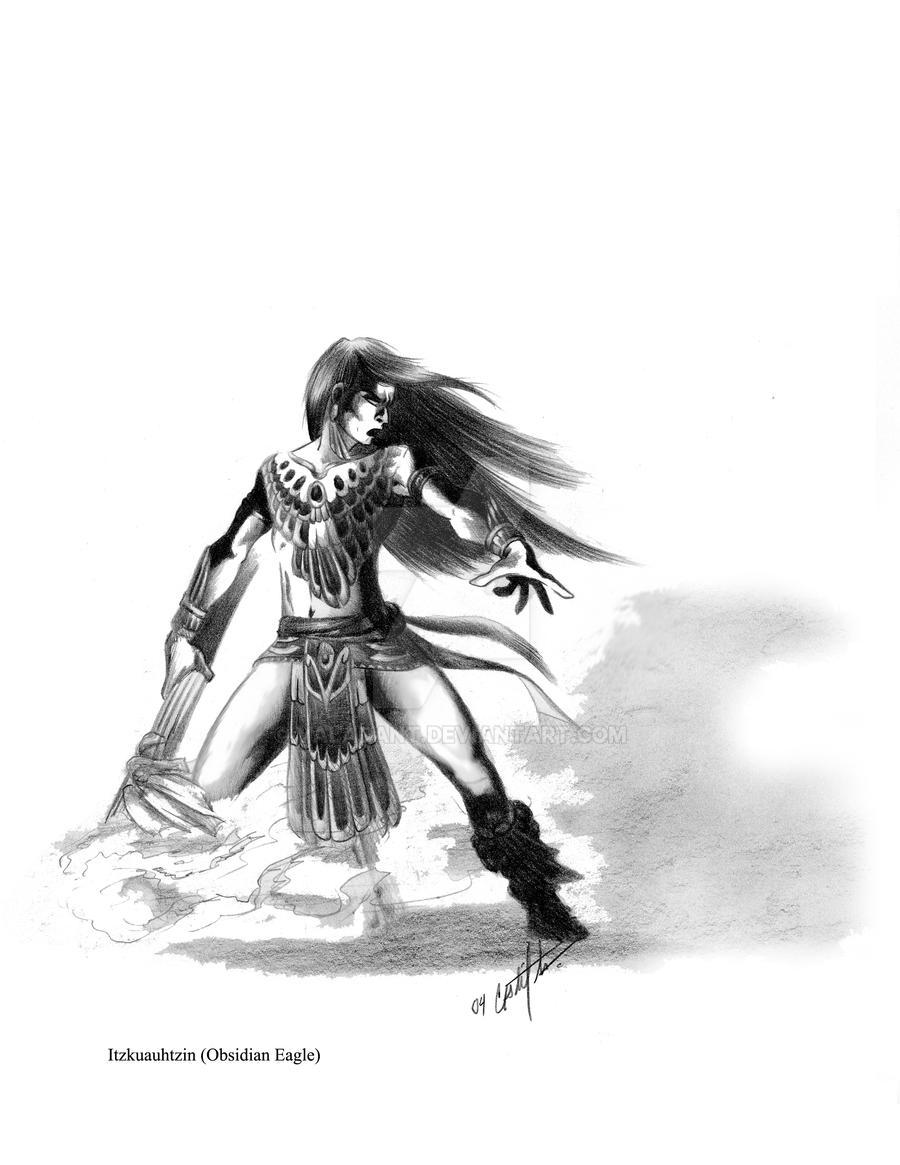 Itzkuauhtzin - Obsidian Eagle by valadant