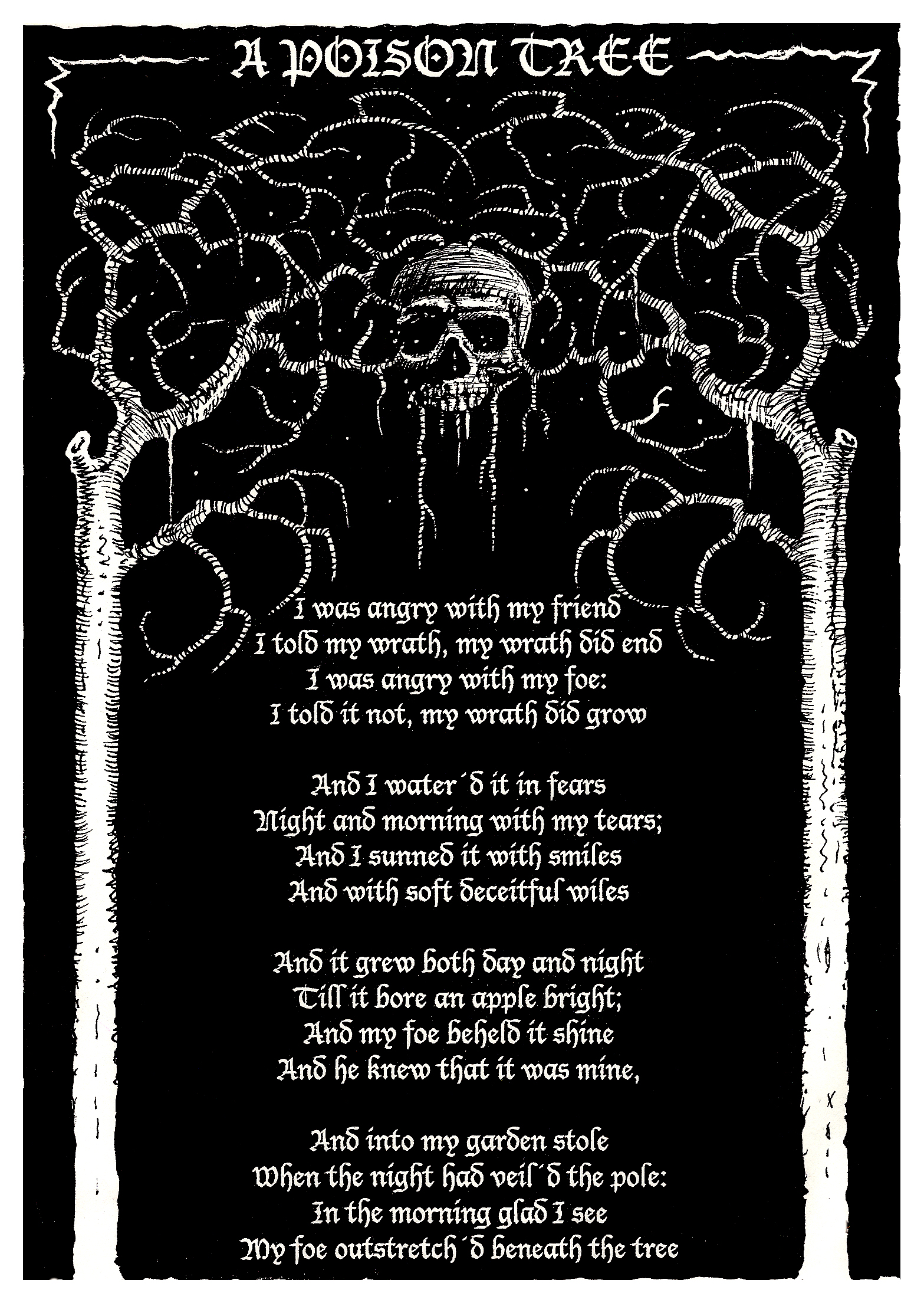growing anger in a poison tree by william blake William blake's a poison tree can be said to be a warning for the consequences just as the tree is a metaphor for growing anger it is referring to giving the.