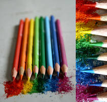 pencils, in rainbows by miroitement
