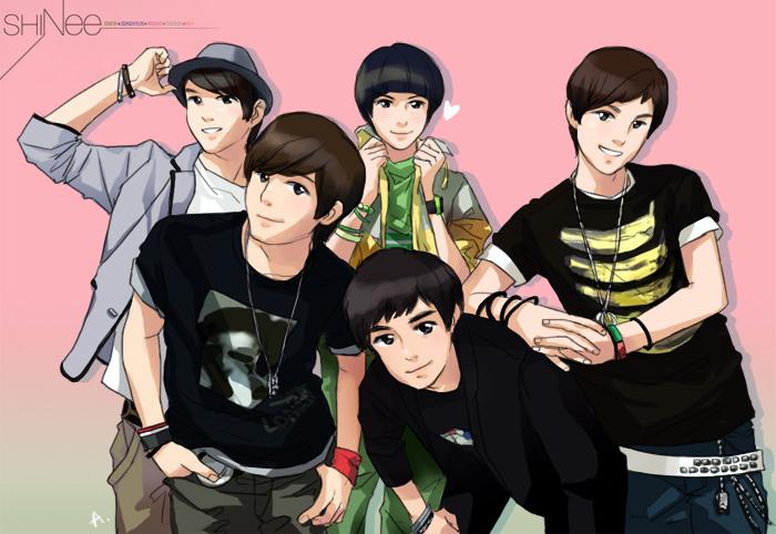 Hình manga của các nhóm nhạc Hàn SHinee__saranghae_by_smileful