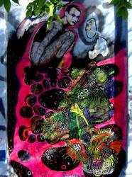 Shinigami (Wheatpasting + Painting)