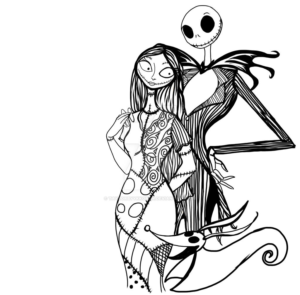 jack and sally coloring pages jack and sally un colored by taylor byykkonen by