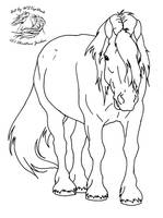 Draft horse lineart for dA use by WSTopDeck